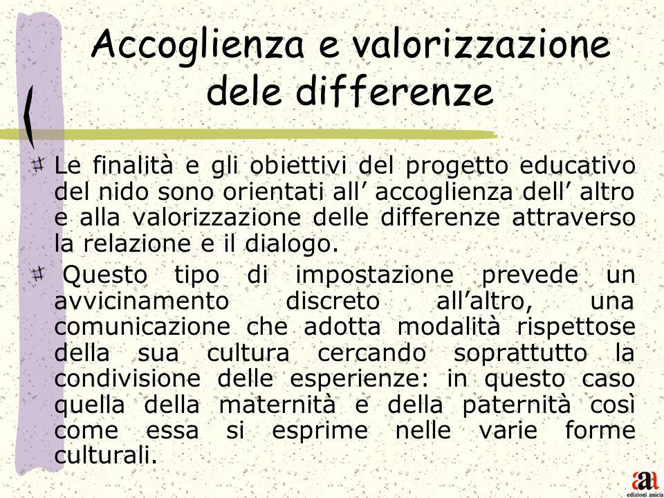 Accoglienza e valorizzazione dele differenze Le finalità e gli obiettivi del progetto educativo del nido sono orientati all accoglienza dell altro e a