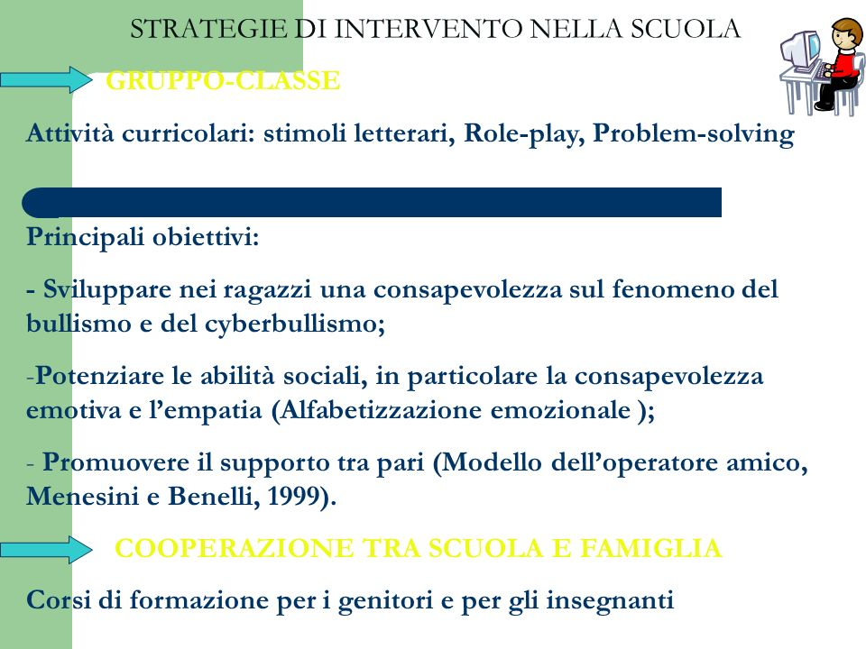 STRATEGIE DI INTERVENTO NELLA SCUOLA GRUPPO-CLASSE Attività curricolari: stimoli letterari, Role-play, Problem-solving Principali obiettivi: - Svilupp