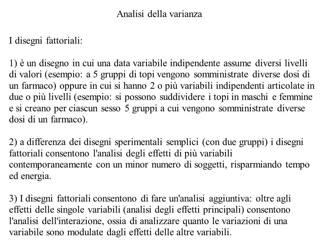 Analisi della varianza I disegni fattoriali: 1) è un disegno in cui una data variabile indipendente assume diversi livelli di valori (esempio: a 5 gru