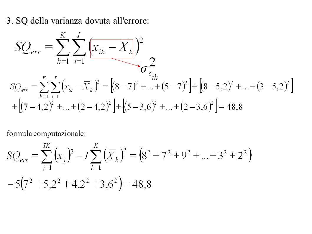 3. SQ della varianza dovuta all'errore: formula computazionale: