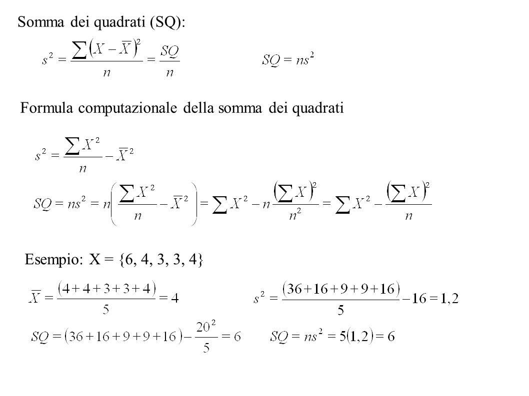 Somma dei quadrati (SQ): Formula computazionale della somma dei quadrati Esempio: X = {6, 4, 3, 3, 4}
