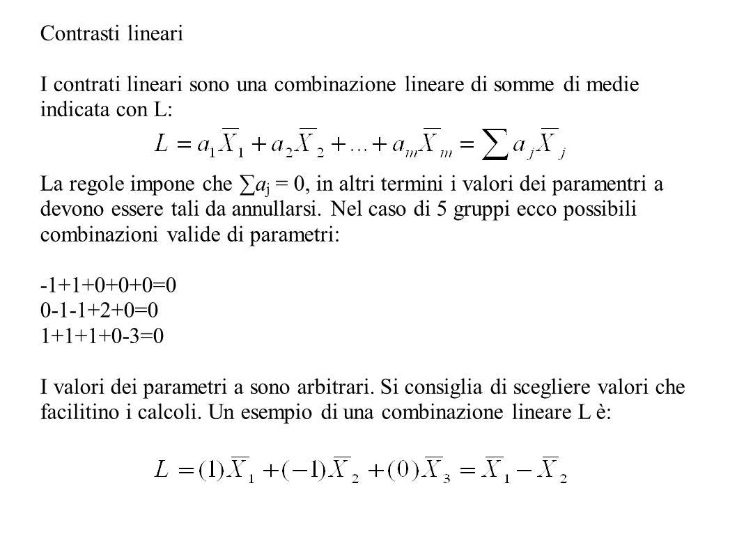 Contrasti lineari I contrati lineari sono una combinazione lineare di somme di medie indicata con L: La regole impone che a j = 0, in altri termini i