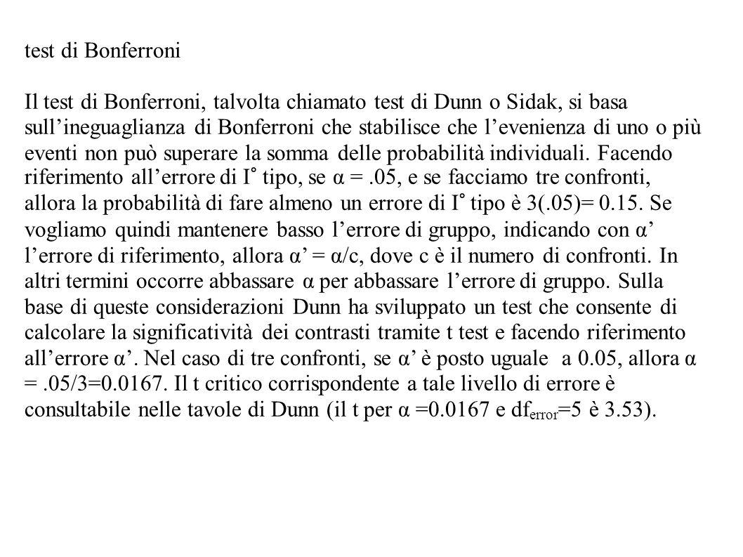 test di Bonferroni Il test di Bonferroni, talvolta chiamato test di Dunn o Sidak, si basa sullineguaglianza di Bonferroni che stabilisce che levenienz