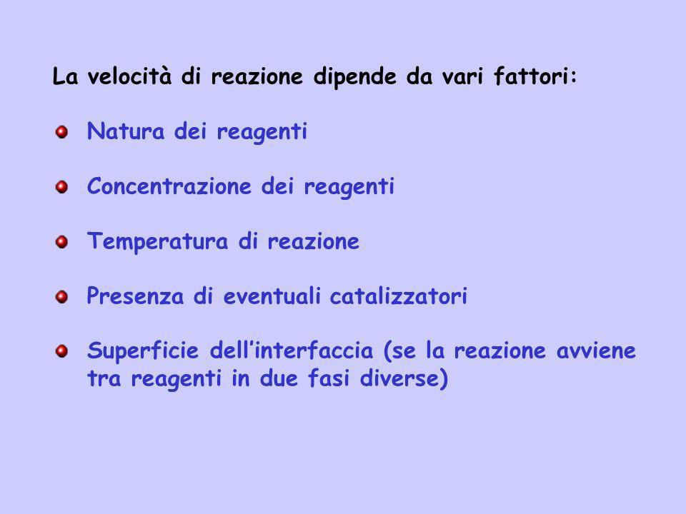 La velocità di reazione dipende da vari fattori: Natura dei reagenti Concentrazione dei reagenti Temperatura di reazione Presenza di eventuali cataliz