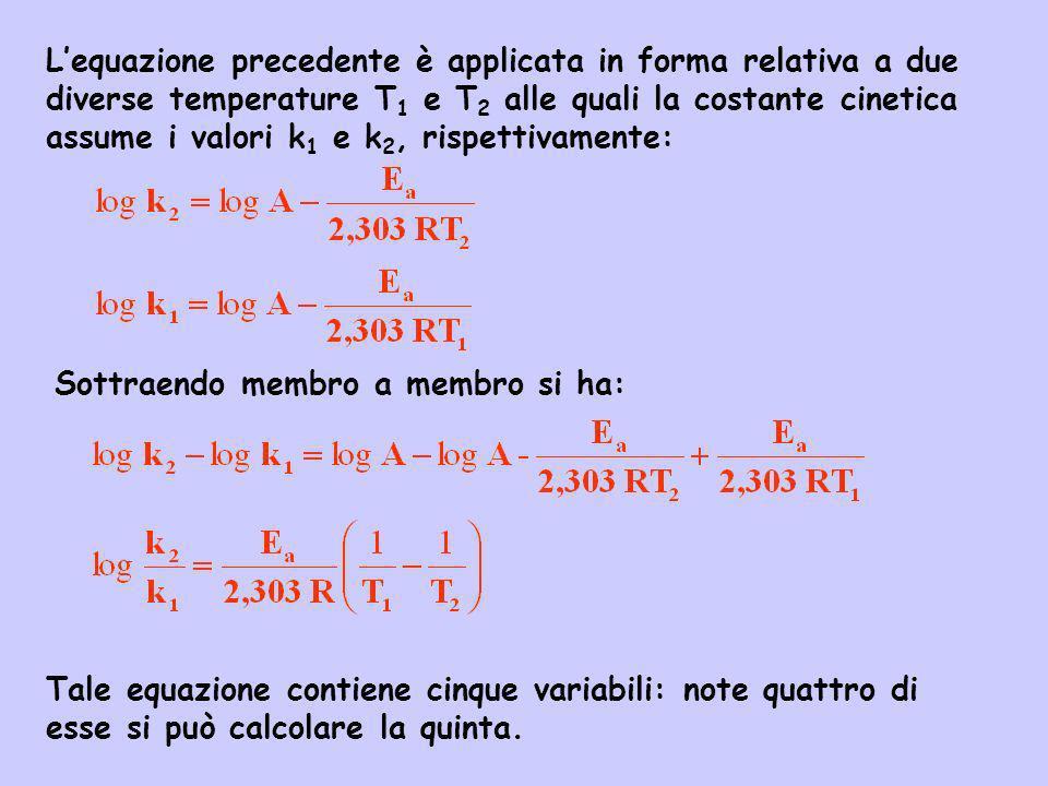 Lequazione precedente è applicata in forma relativa a due diverse temperature T 1 e T 2 alle quali la costante cinetica assume i valori k 1 e k 2, ris