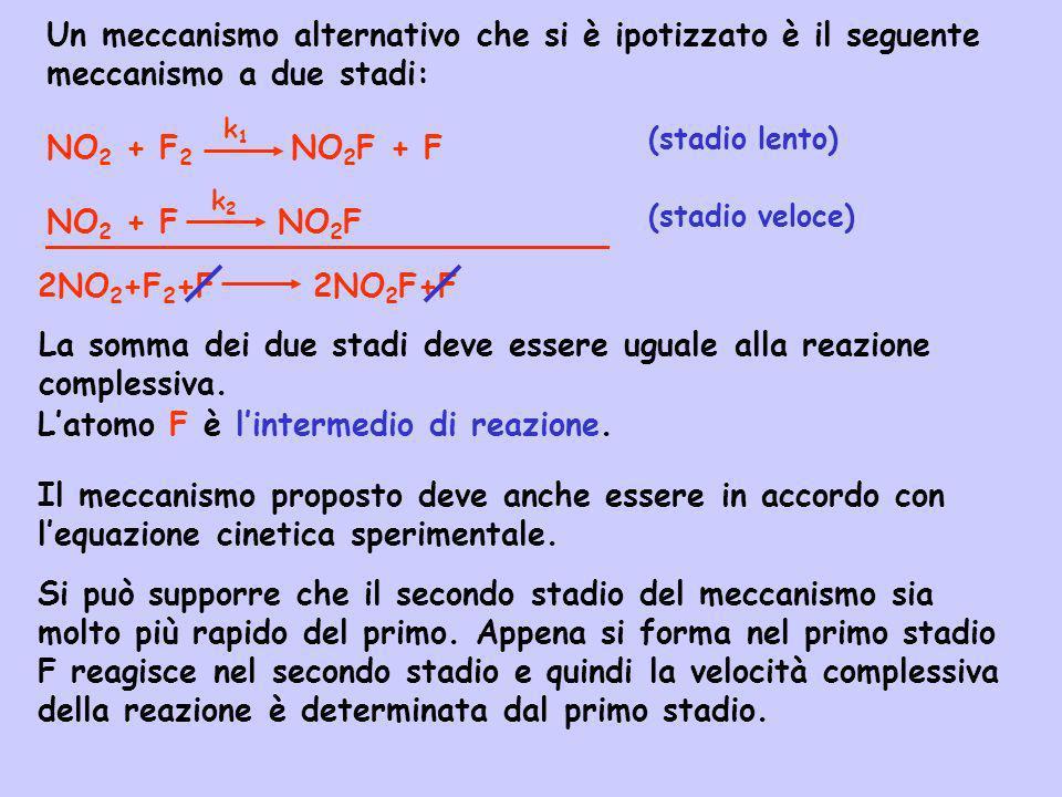 Un meccanismo alternativo che si è ipotizzato è il seguente meccanismo a due stadi: NO 2 + F 2 NO 2 F + F NO 2 + F NO 2 F La somma dei due stadi deve