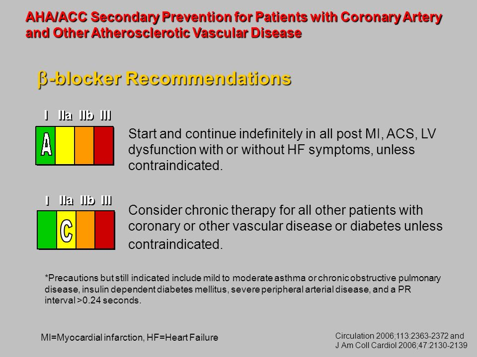Start and continue indefinitely in all post MI, ACS, LV dysfunction with or without HF symptoms, unless contraindicated. Consider chronic therapy for