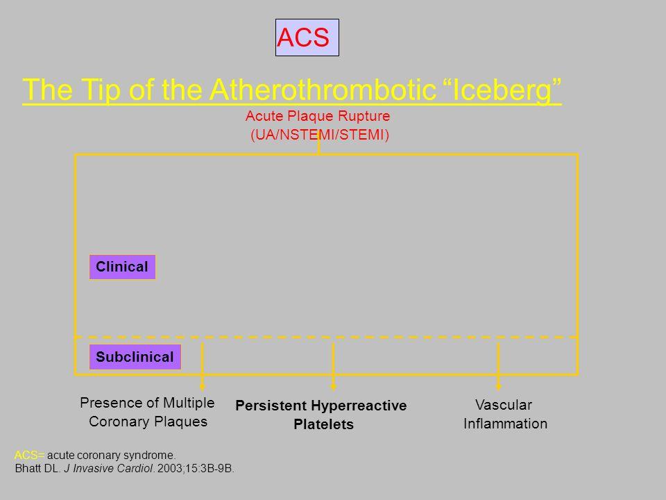 The Tip of the Atherothrombotic Iceberg ACS= acute coronary syndrome. Bhatt DL. J Invasive Cardiol. 2003;15:3B-9B. Acute Plaque Rupture (UA/NSTEMI/STE