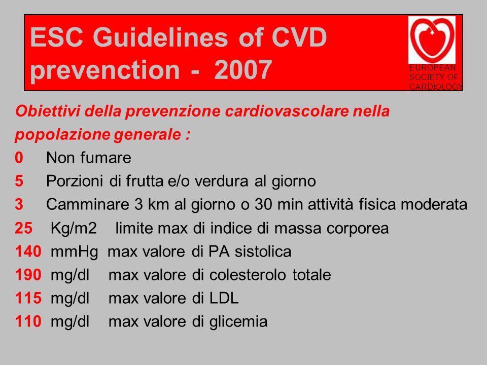 Obiettivi della prevenzione cardiovascolare nella popolazione generale : 0 Non fumare 5 Porzioni di frutta e/o verdura al giorno 3 Camminare 3 km al g