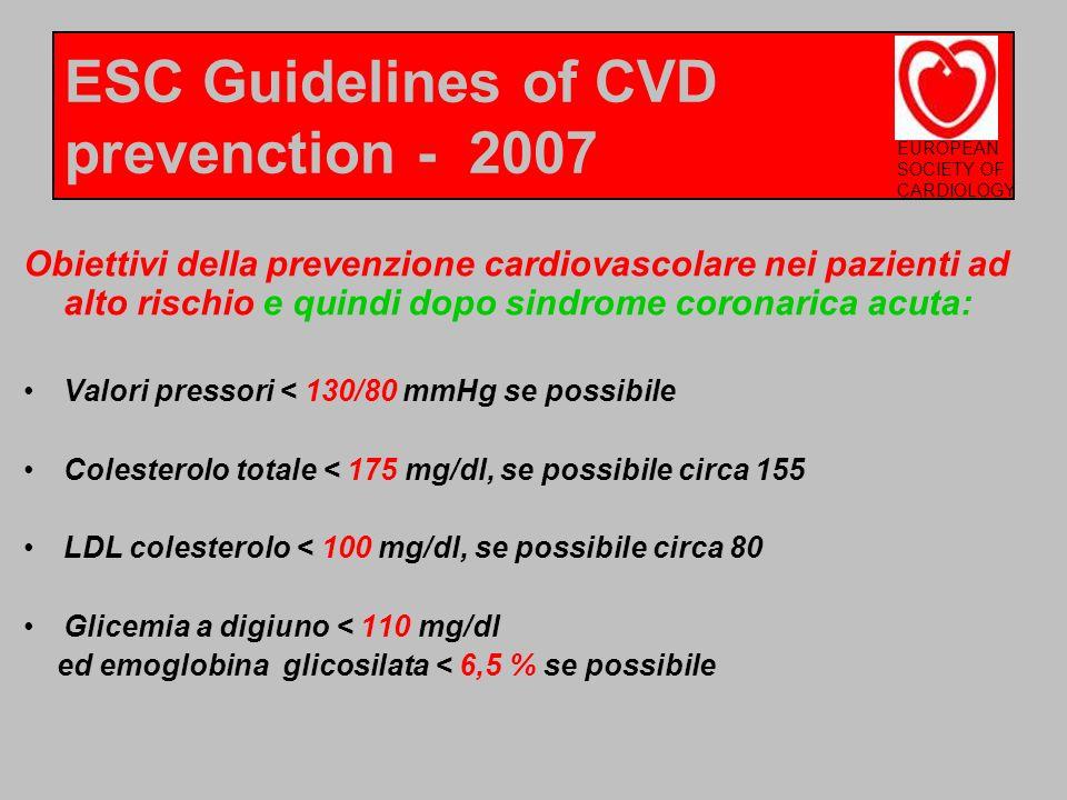 Obiettivi della prevenzione cardiovascolare nei pazienti ad alto rischio e quindi dopo sindrome coronarica acuta: Valori pressori < 130/80 mmHg se pos