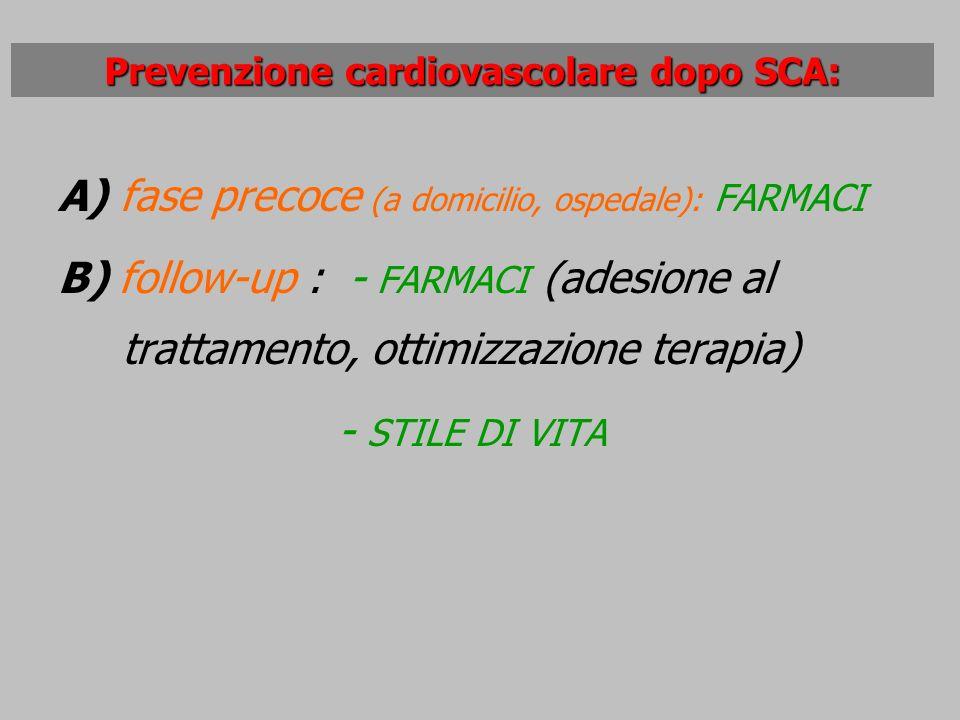 A) fase precoce (a domicilio, ospedale): FARMACI B) follow-up : - FARMACI (adesione al trattamento, ottimizzazione terapia) - STILE DI VITA Prevenzion