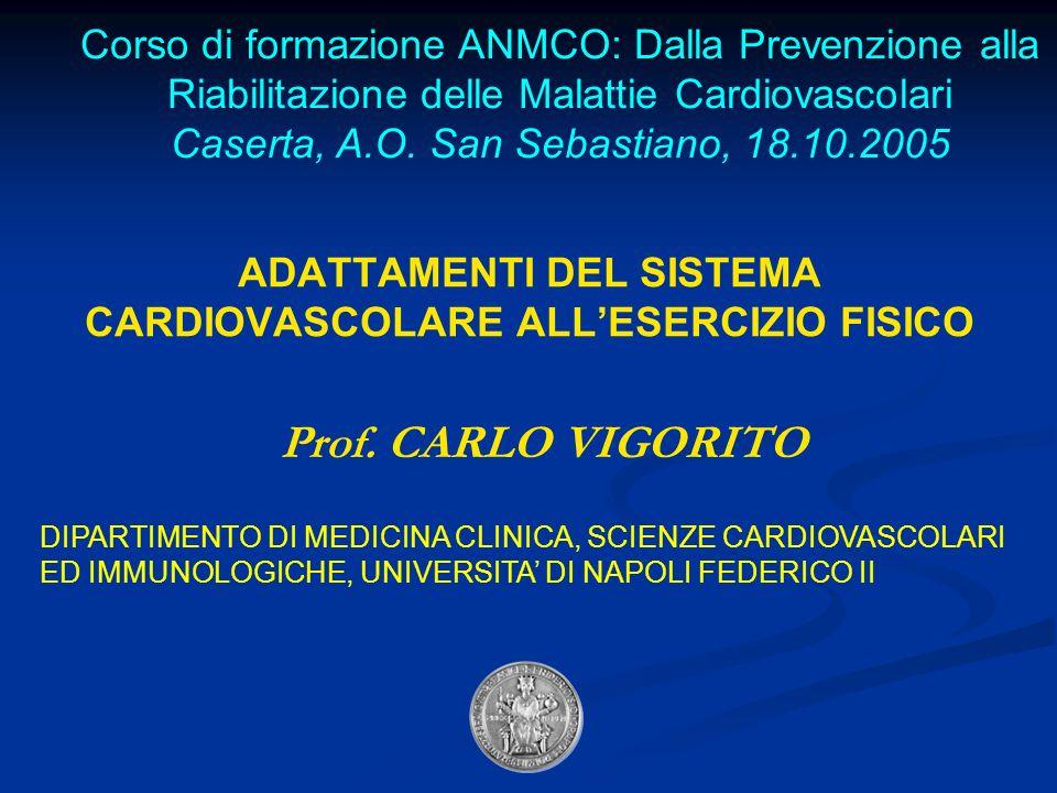 ADATTAMENTI DEL SISTEMA CARDIOVASCOLARE ALLESERCIZIO FISICO Prof.