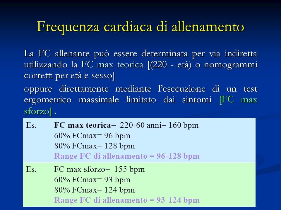 Frequenza cardiaca di allenamento La FC allenante può essere determinata per via indiretta utilizzando la FC max teorica [(220 - età) o nomogrammi corretti per età e sesso] oppure direttamente mediante lesecuzione di un test ergometrico massimale limitato dai sintomi [FC max sforzo].