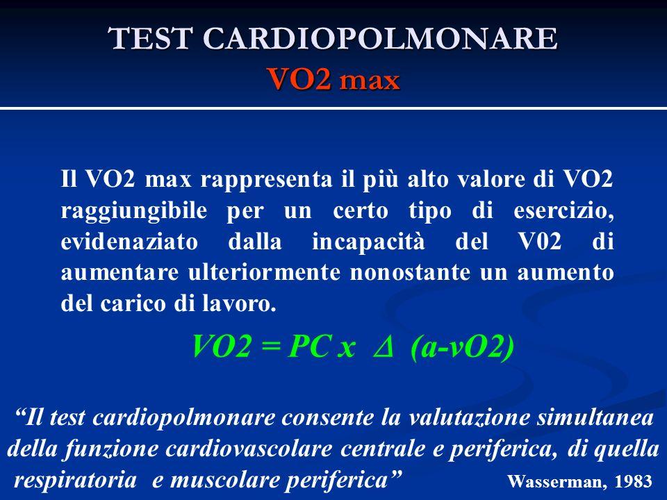 TEST CARDIOPOLMONARE VO2 max Il VO2 max rappresenta il più alto valore di VO2 raggiungibile per un certo tipo di esercizio, evidenaziato dalla incapacità del V02 di aumentare ulteriormente nonostante un aumento del carico di lavoro.