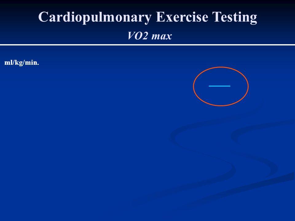Cardiopulmonary Exercise Testing VO2 max ml/kg/min.