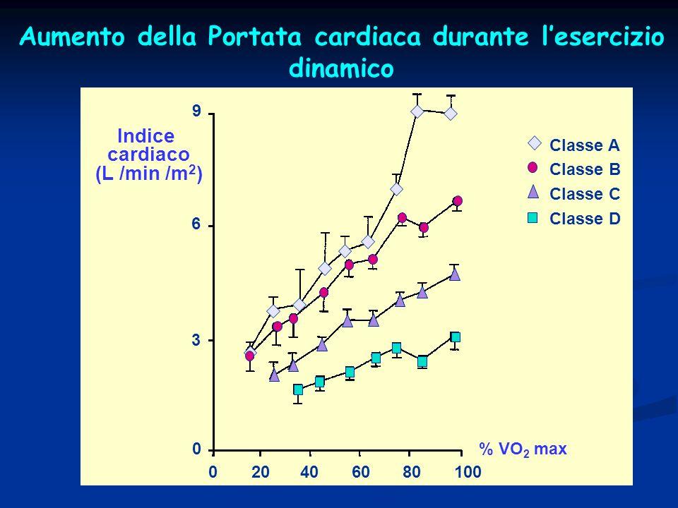 020406080100 0 3 6 9 Indice cardiaco (L /min /m 2 ) % VO 2 max Aumento della Portata cardiaca durante lesercizio dinamico Classe A Classe B Classe C Classe D
