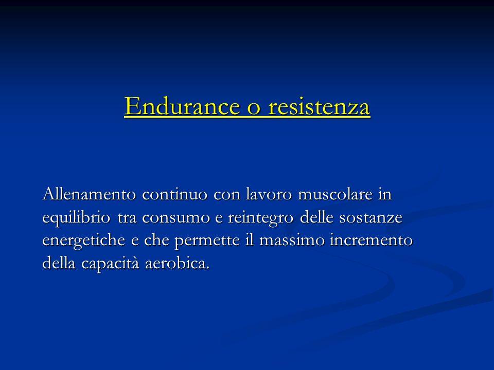 Endurance o resistenza Allenamento continuo con lavoro muscolare in equilibrio tra consumo e reintegro delle sostanze energetiche e che permette il massimo incremento della capacità aerobica.