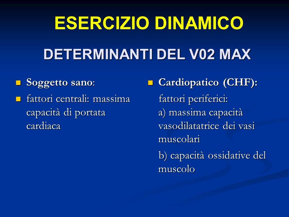 DETERMINANTI DEL V02 MAX Soggetto sano: Soggetto sano: fattori centrali: massima capacità di portata cardiaca fattori centrali: massima capacità di portata cardiaca Cardiopatico (CHF): fattori periferici: a) massima capacità vasodilatatrice dei vasi muscolari b) capacità ossidative del muscolo ESERCIZIO DINAMICO