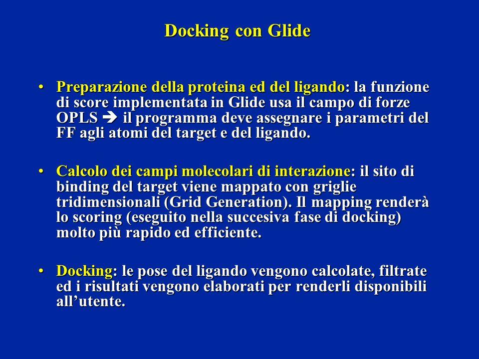 Docking con Glide Preparazione della proteina ed del ligando: la funzione di score implementata in Glide usa il campo di forze OPLS il programma deve