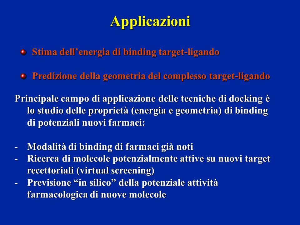 Applicazioni Stima dellenergia di binding target-ligando Predizione della geometria del complesso target-ligando Principale campo di applicazione dell