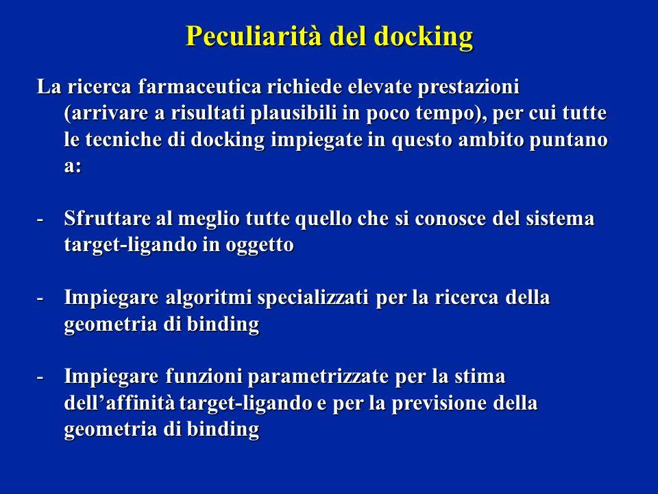 Peculiarità del docking La ricerca farmaceutica richiede elevate prestazioni (arrivare a risultati plausibili in poco tempo), per cui tutte le tecnich