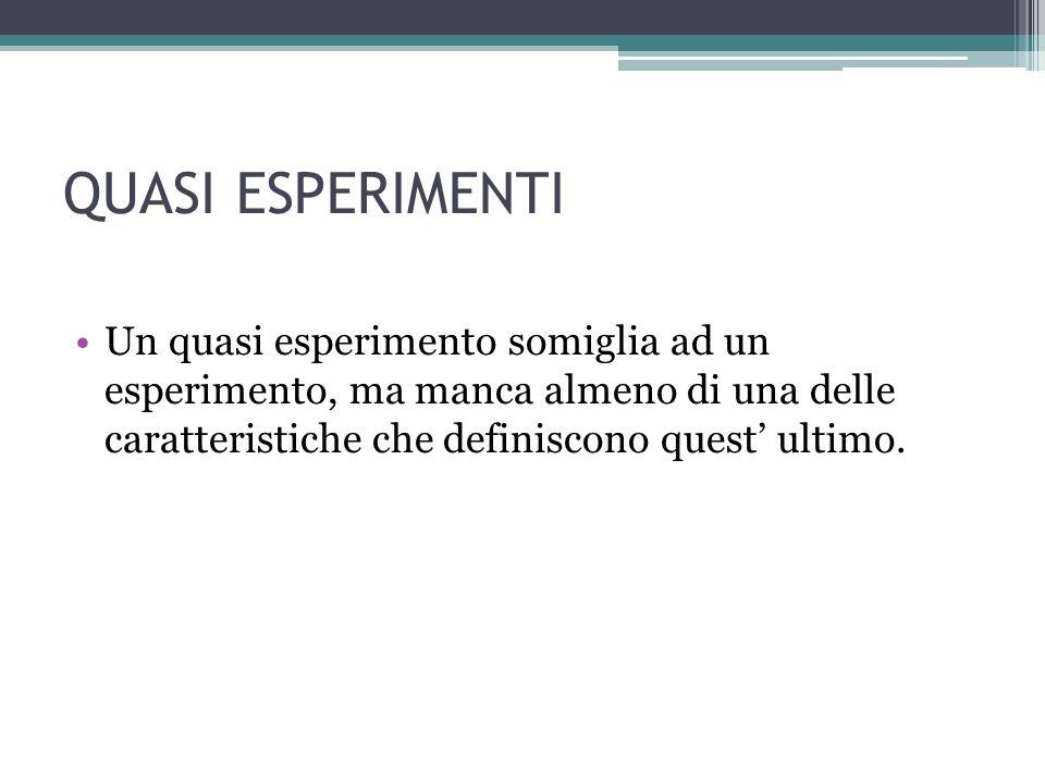 QUASI ESPERIMENTI Un quasi esperimento somiglia ad un esperimento, ma manca almeno di una delle caratteristiche che definiscono quest ultimo.