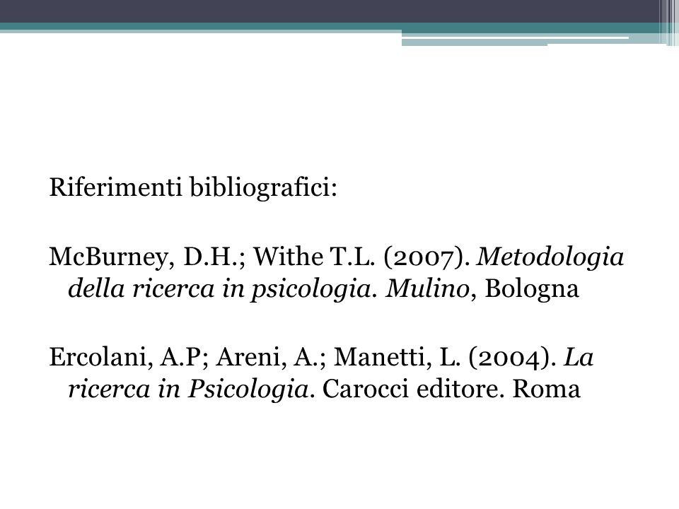 Riferimenti bibliografici: McBurney, D.H.; Withe T.L. (2007). Metodologia della ricerca in psicologia. Mulino, Bologna Ercolani, A.P; Areni, A.; Manet