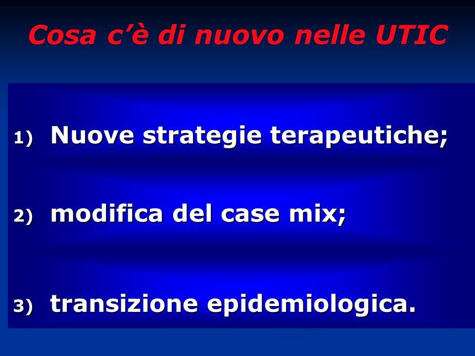 Cosa cè di nuovo nelle UTIC 1) Nuove strategie terapeutiche; 2) modifica del case mix; 3) transizione epidemiologica.