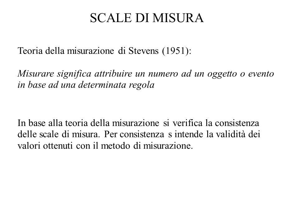 SCALE DI MISURA Teoria della misurazione di Stevens (1951): Misurare significa attribuire un numero ad un oggetto o evento in base ad una determinata
