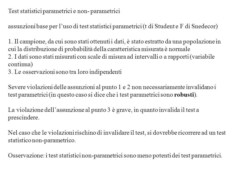 Test statistici parametrici e non- parametrici assunzioni base per luso di test statistici parametrici (t di Student e F di Snedecor) 1. Il campione,