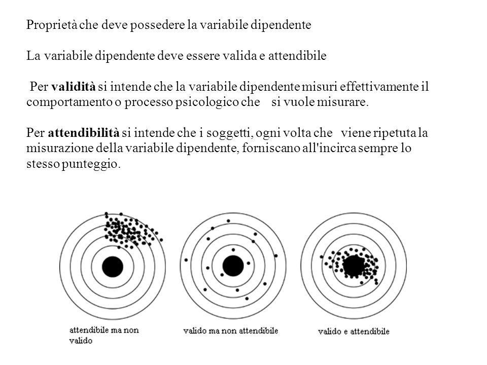 Proprietà che deve possedere la variabile dipendente La variabile dipendente deve essere valida e attendibile Per validità si intende che la variabile