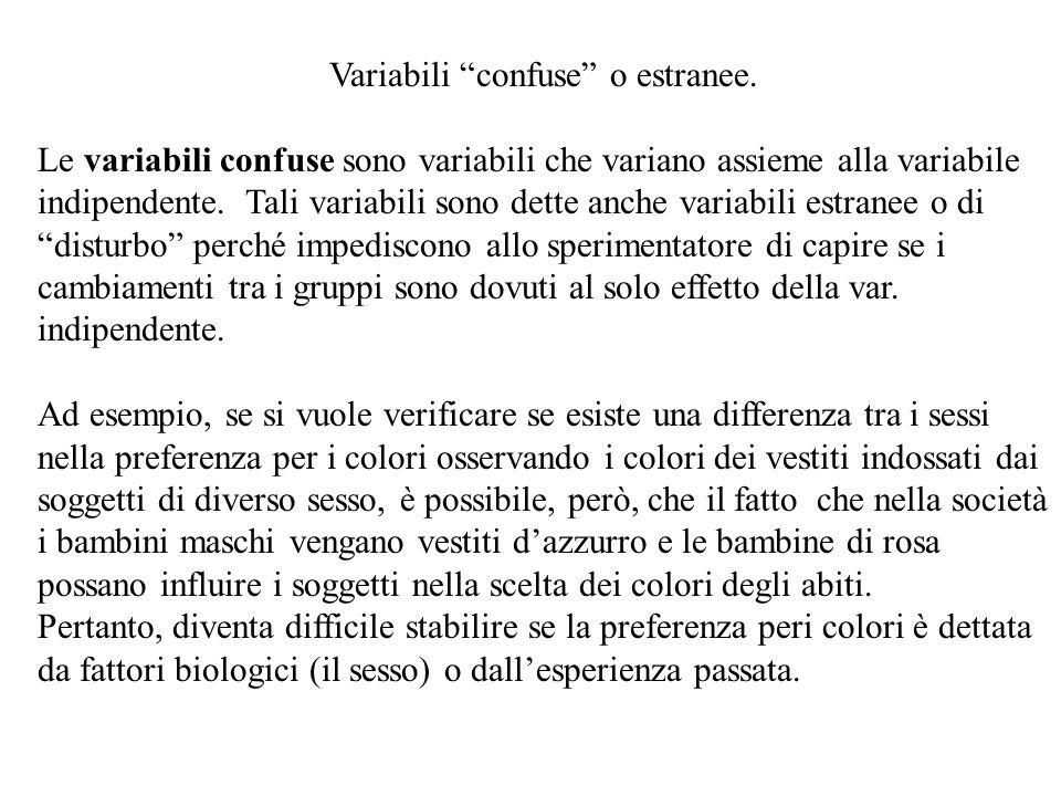 Variabili confuse o estranee. Le variabili confuse sono variabili che variano assieme alla variabile indipendente. Tali variabili sono dette anche var