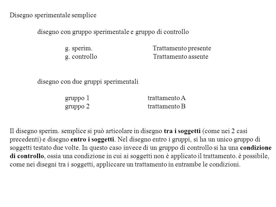 Disegno sperimentale semplice disegno con gruppo sperimentale e gruppo di controllo g. sperim. Trattamento presente g. controllo Trattamento assente d