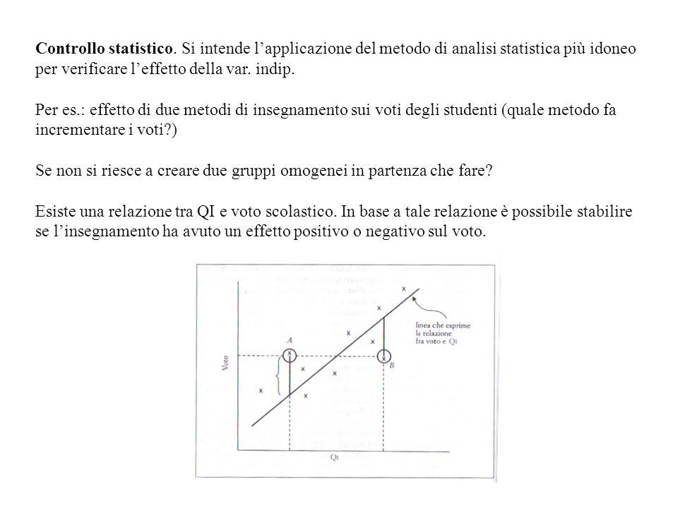 Controllo statistico. Si intende lapplicazione del metodo di analisi statistica più idoneo per verificare leffetto della var. indip. Per es.: effetto