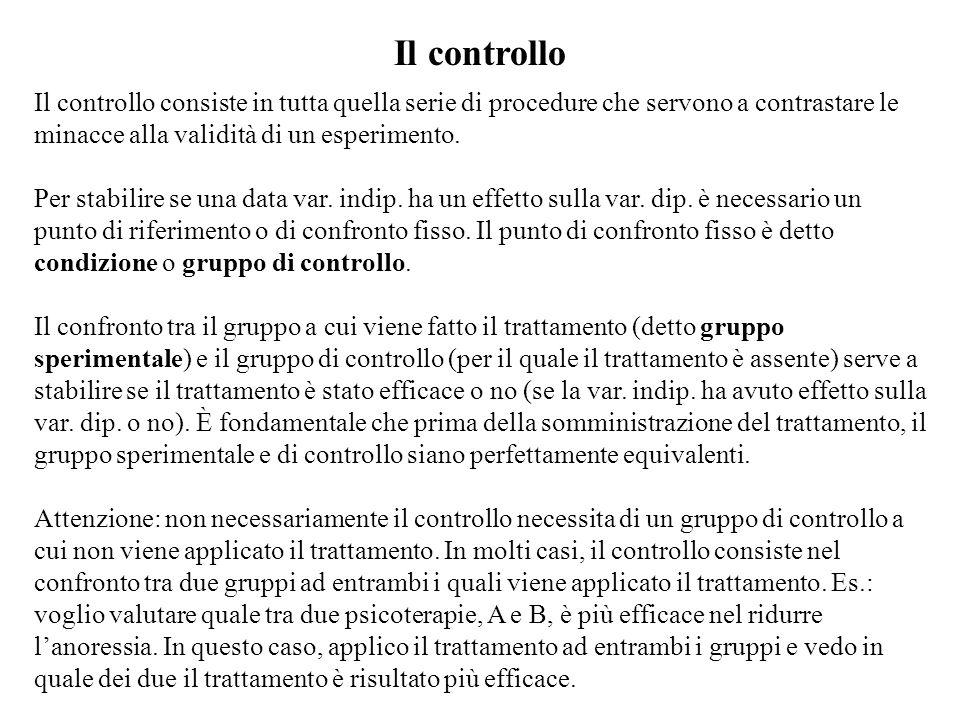 Il controllo Il controllo consiste in tutta quella serie di procedure che servono a contrastare le minacce alla validità di un esperimento. Per stabil