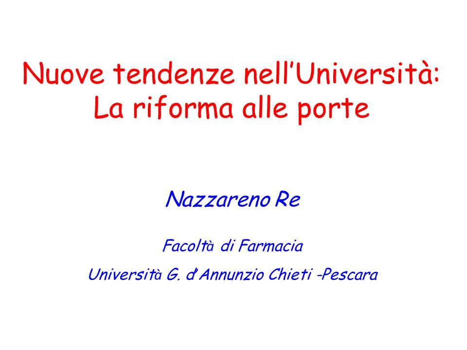 Nuove tendenze nellUniversità: La riforma alle porte Nazzareno Re Facolt à di Farmacia Universit à G. d Annunzio Chieti -Pescara