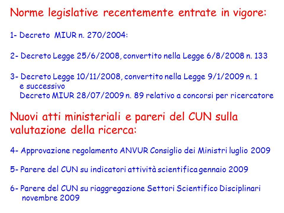 Norme legislative recentemente entrate in vigore: 1- Decreto MIUR n. 270/2004: 2- Decreto Legge 25/6/2008, convertito nella Legge 6/8/2008 n. 133 3- D