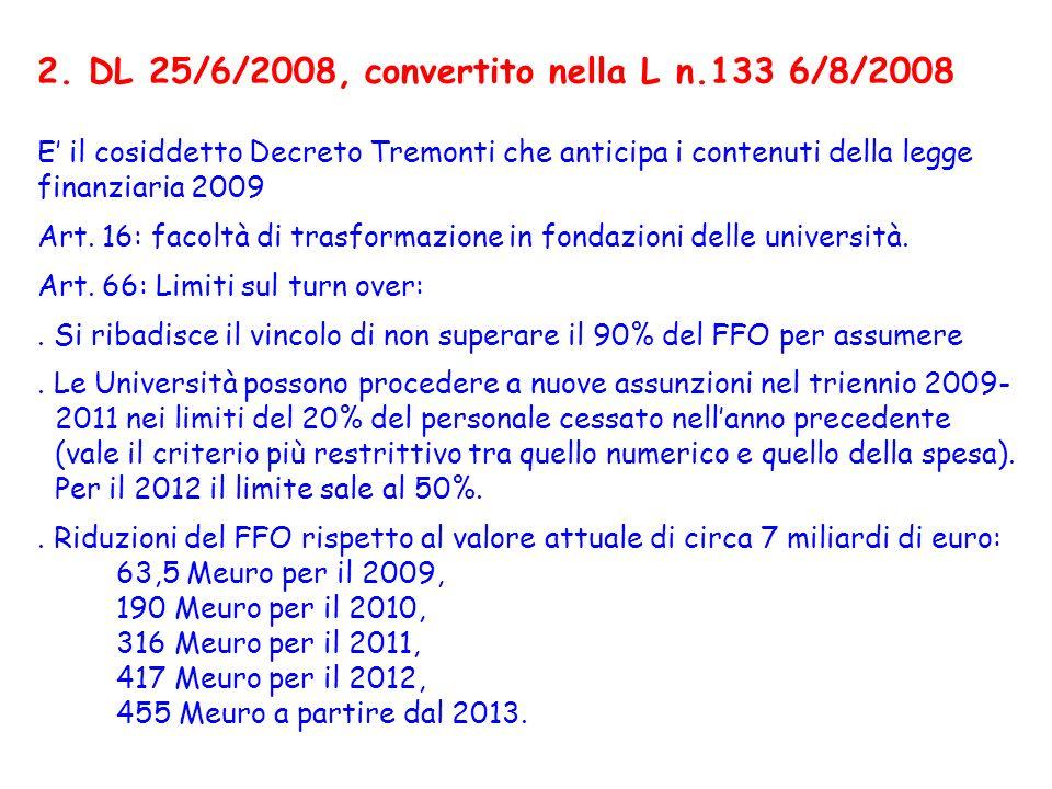 2. DL 25/6/2008, convertito nella L n.133 6/8/2008 E il cosiddetto Decreto Tremonti che anticipa i contenuti della legge finanziaria 2009 Art. 16: fac