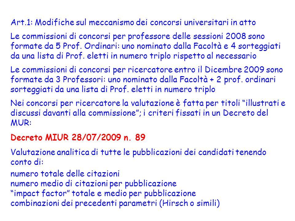 Art.1: Modifiche sul meccanismo dei concorsi universitari in atto Le commissioni di concorsi per professore delle sessioni 2008 sono formate da 5 Prof