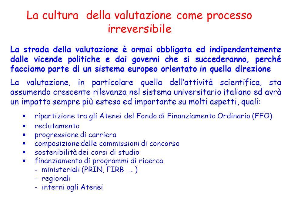 La cultura della valutazione come processo irreversibile La strada della valutazione è ormai obbligata ed indipendentemente dalle vicende politiche e