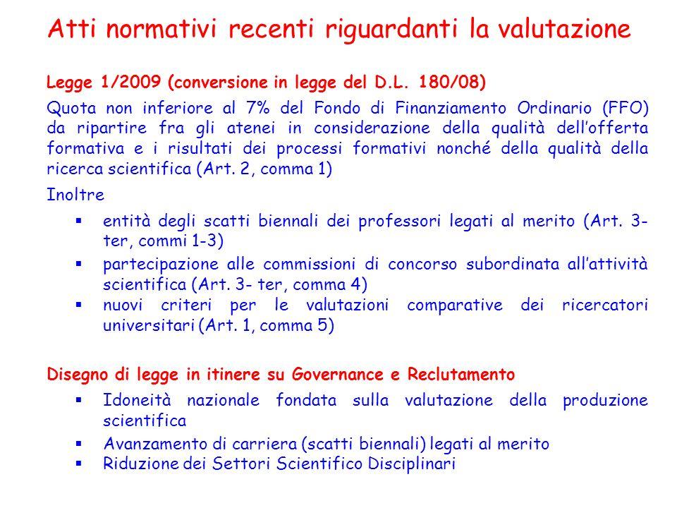 Atti normativi recenti riguardanti la valutazione Legge 1/2009 (conversione in legge del D.L. 180/08) Quota non inferiore al 7% del Fondo di Finanziam