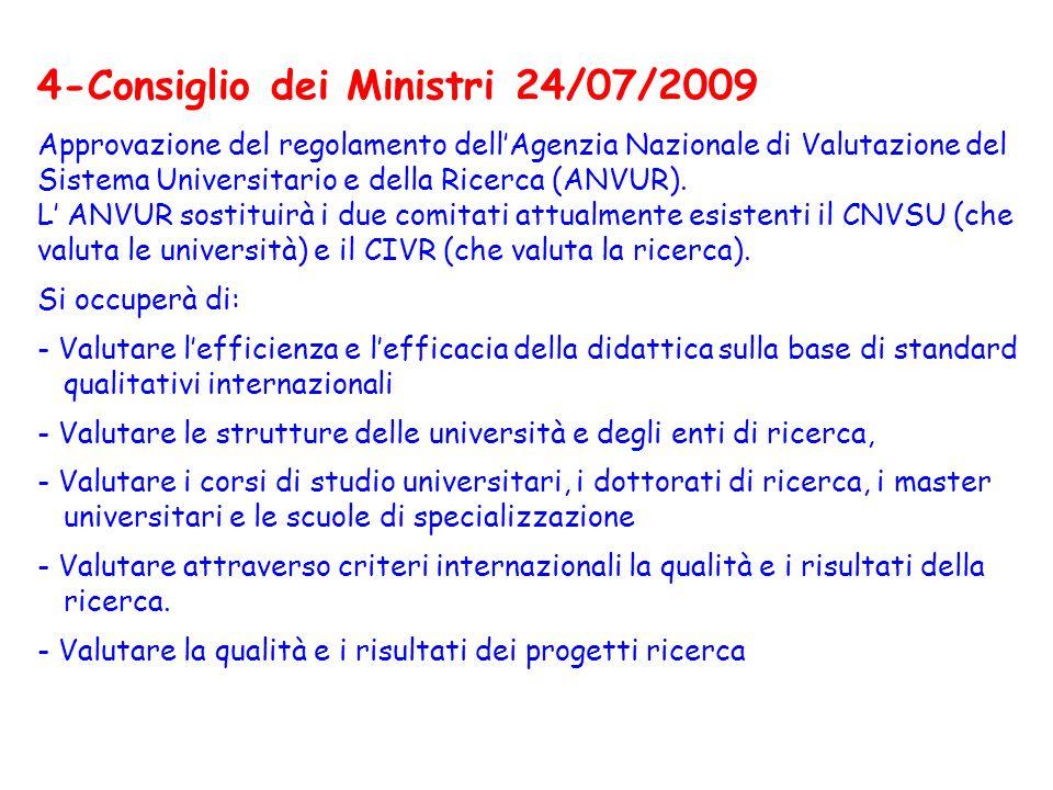 4-Consiglio dei Ministri 24/07/2009 Approvazione del regolamento dellAgenzia Nazionale di Valutazione del Sistema Universitario e della Ricerca (ANVUR