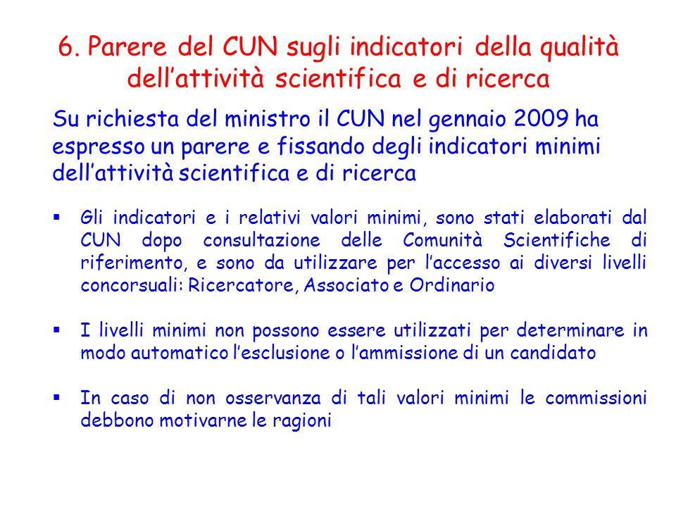 6. Parere del CUN sugli indicatori della qualità dellattività scientifica e di ricerca Su richiesta del ministro il CUN nel gennaio 2009 ha espresso u