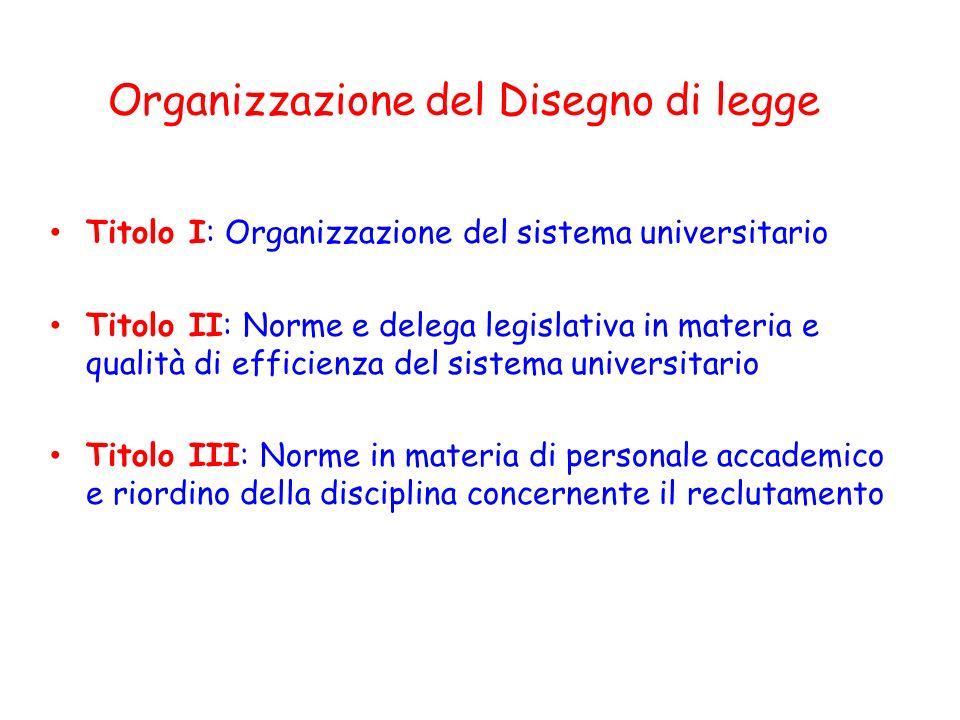 Titolo I: Organizzazione del sistema universitario Titolo II: Norme e delega legislativa in materia e qualità di efficienza del sistema universitario