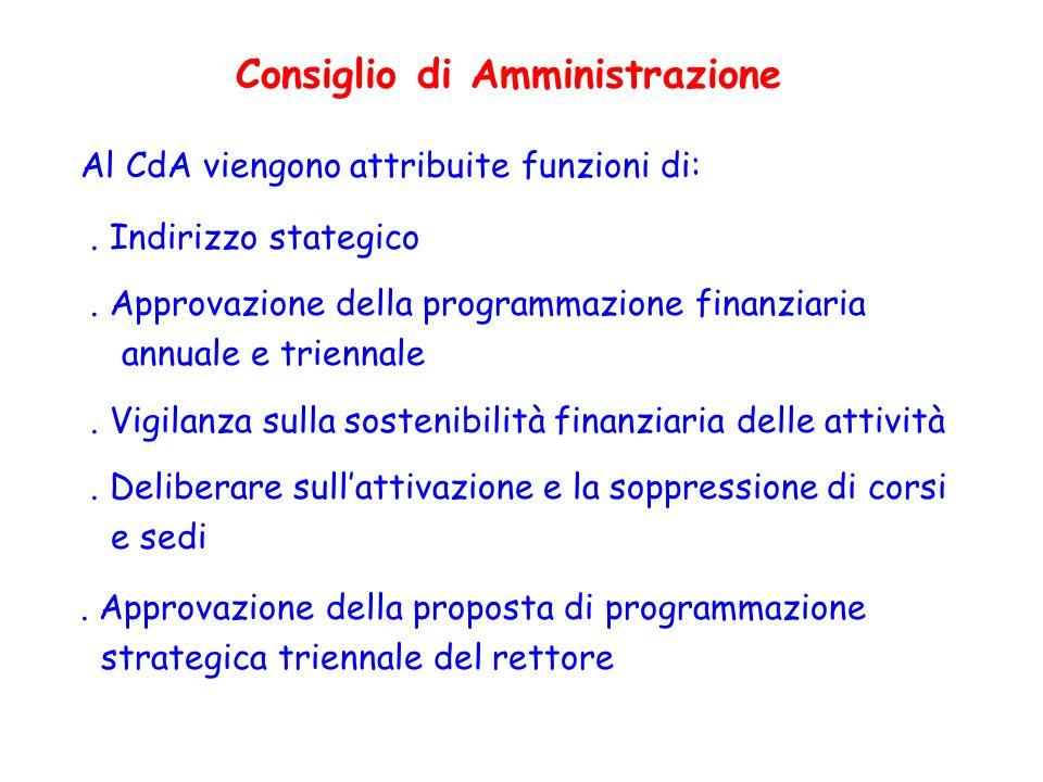 Al CdA viengono attribuite funzioni di:. Indirizzo stategico. Approvazione della programmazione finanziaria annuale e triennale. Vigilanza sulla soste