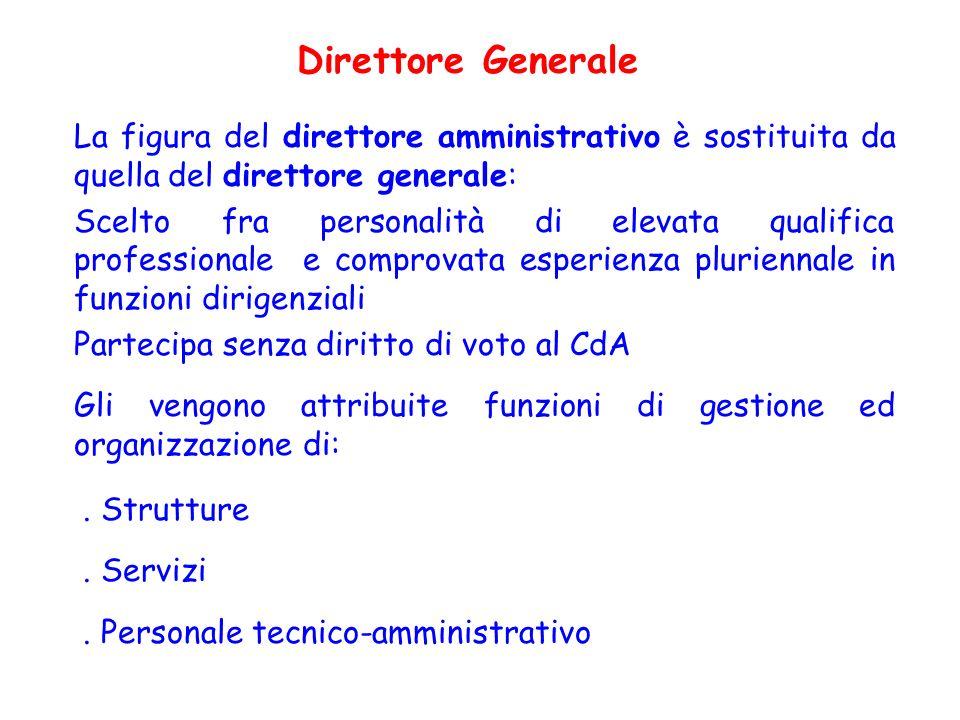La figura del direttore amministrativo è sostituita da quella del direttore generale: Scelto fra personalità di elevata qualifica professionale e comp