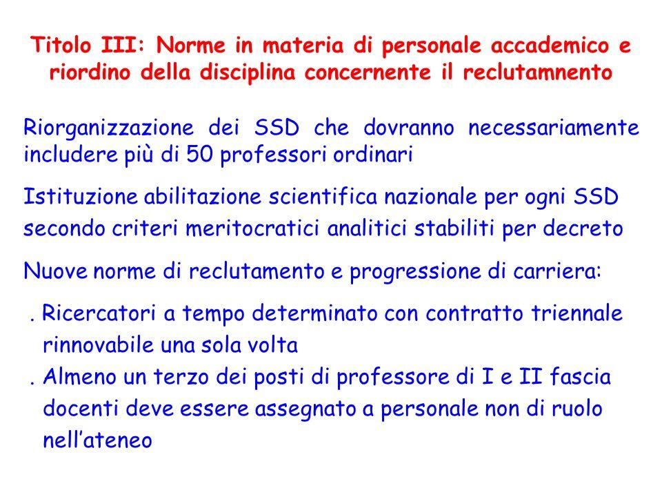 Riorganizzazione dei SSD che dovranno necessariamente includere più di 50 professori ordinari Istituzione abilitazione scientifica nazionale per ogni