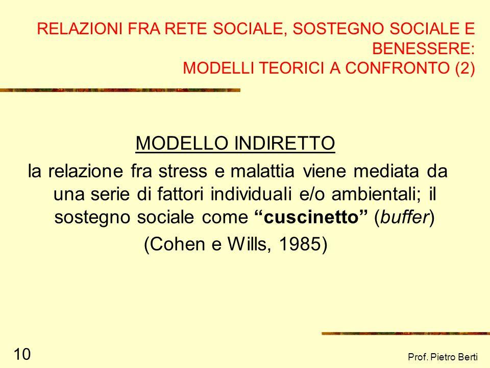 Prof. Pietro Berti 10 RELAZIONI FRA RETE SOCIALE, SOSTEGNO SOCIALE E BENESSERE: MODELLI TEORICI A CONFRONTO (2) MODELLO INDIRETTO la relazione fra str