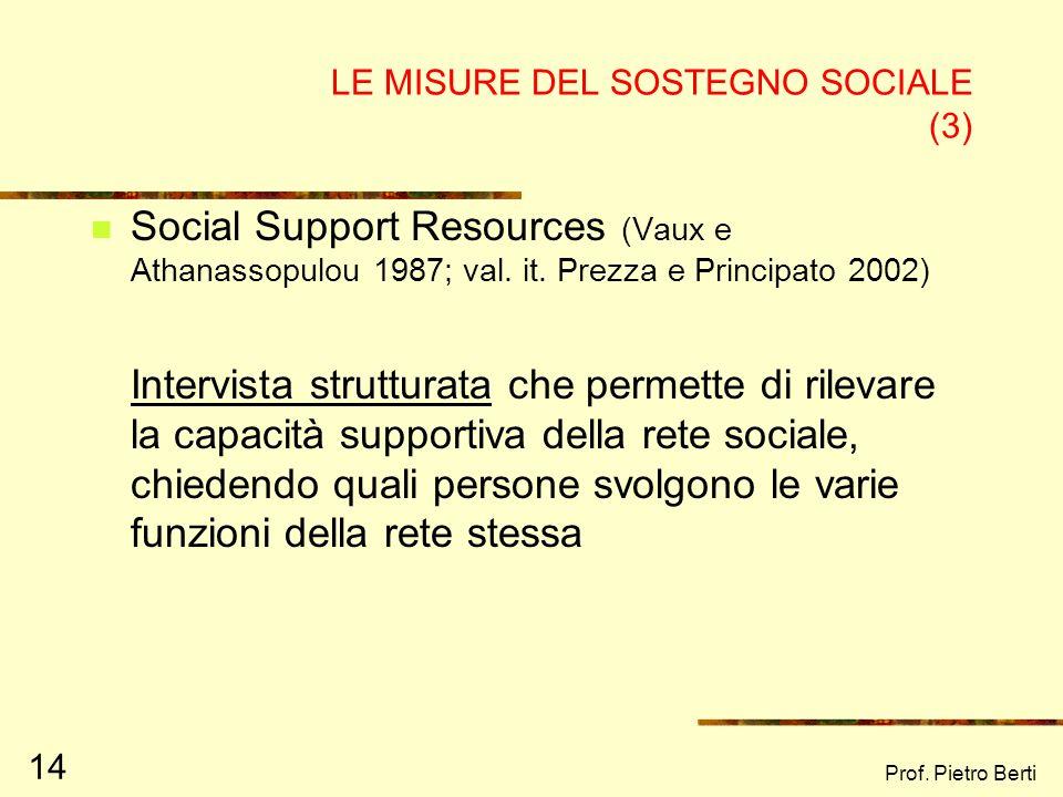 Prof. Pietro Berti 14 LE MISURE DEL SOSTEGNO SOCIALE (3) Social Support Resources (Vaux e Athanassopulou 1987; val. it. Prezza e Principato 2002) Inte