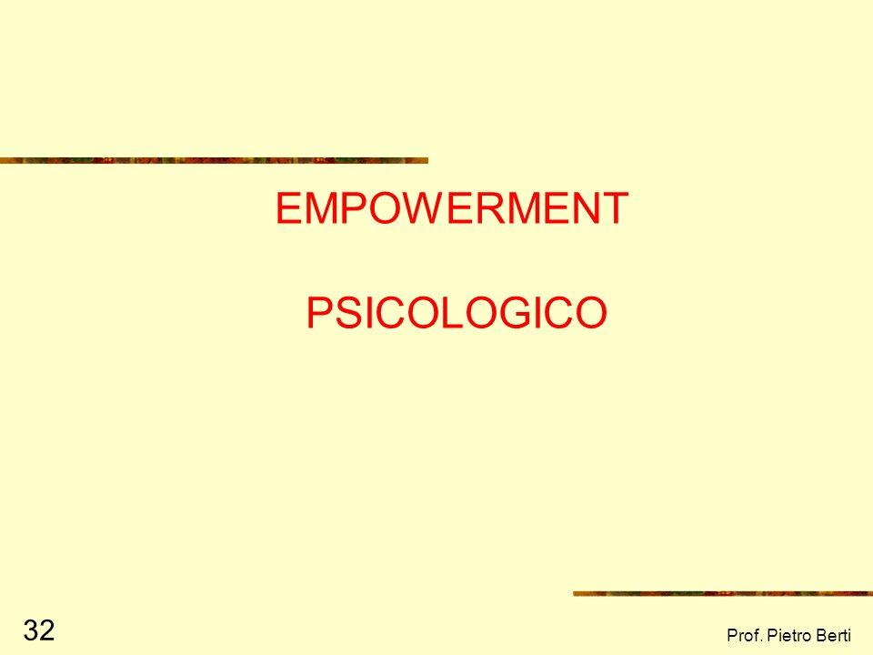 Prof. Pietro Berti 32 EMPOWERMENT PSICOLOGICO